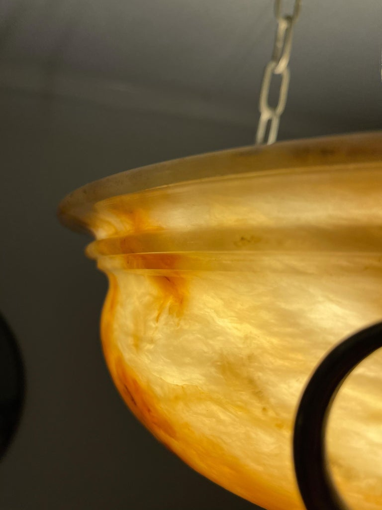 Exceptional Shape and Color Neoclassical Style Alabaster Pendant Light Fixture For Sale 2