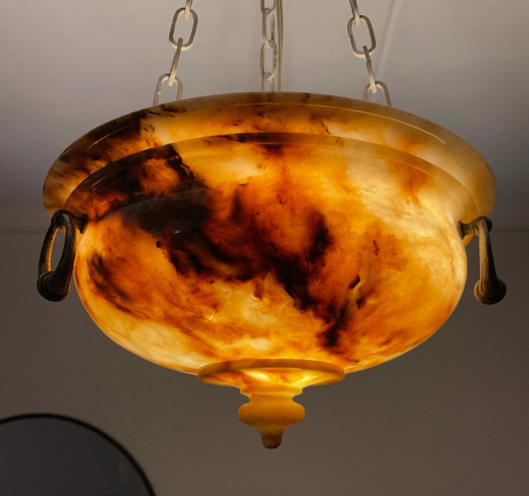 Exceptional Shape and Color Neoclassical Style Alabaster Pendant Light Fixture For Sale 5