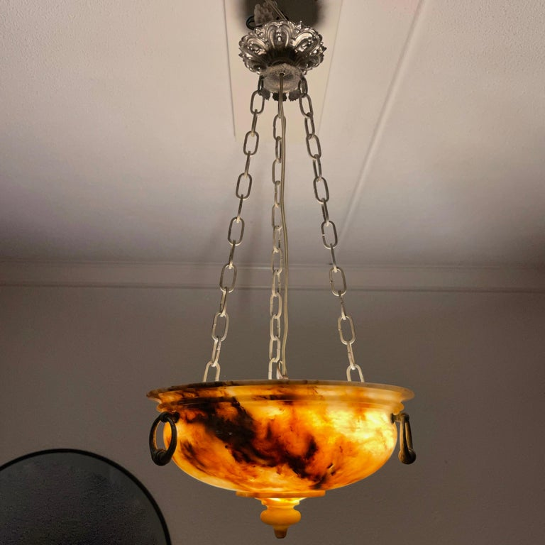 Neoclassical Revival Exceptional Shape and Color Neoclassical Style Alabaster Pendant Light Fixture For Sale