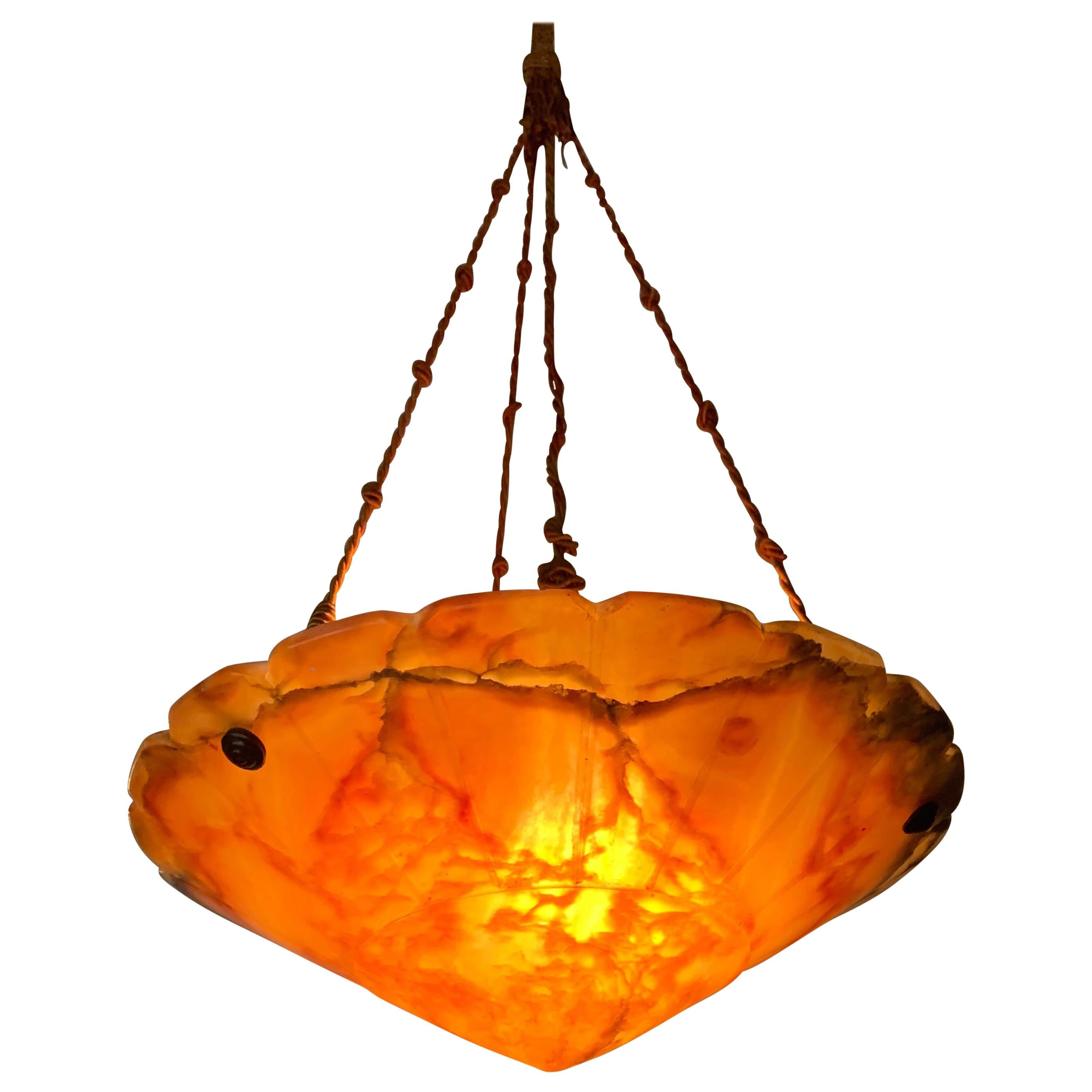 Exceptional Shape 'Supernova' Alabaster and Rope Arts & Crafts Pendant / Fixture