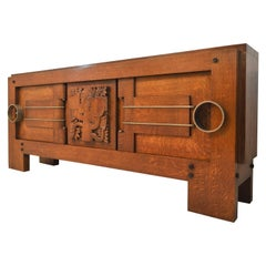 Exceptional Sideboard in Solid Oak, Signed Charles Dudouyt, 1937