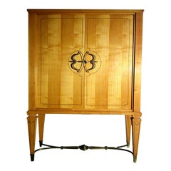"Exceptional Signed Jansen Cabinet with Brass ""Ferronerie"" 1950s, Ipso Facto"