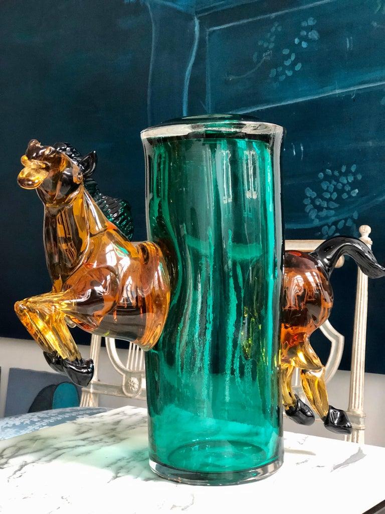Italian Exceptional Silvano Signoretto Horse Sculpture Vase, Murano, 1960s