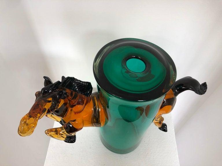 Exceptional Silvano Signoretto Horse Sculpture Vase, Murano, 1960s In Fair Condition In Paris, France