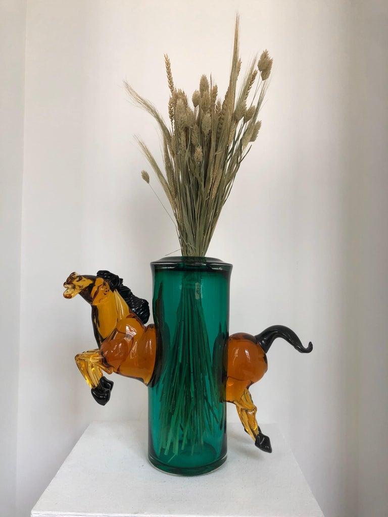 Mid-20th Century Exceptional Silvano Signoretto Horse Sculpture Vase, Murano, 1960s