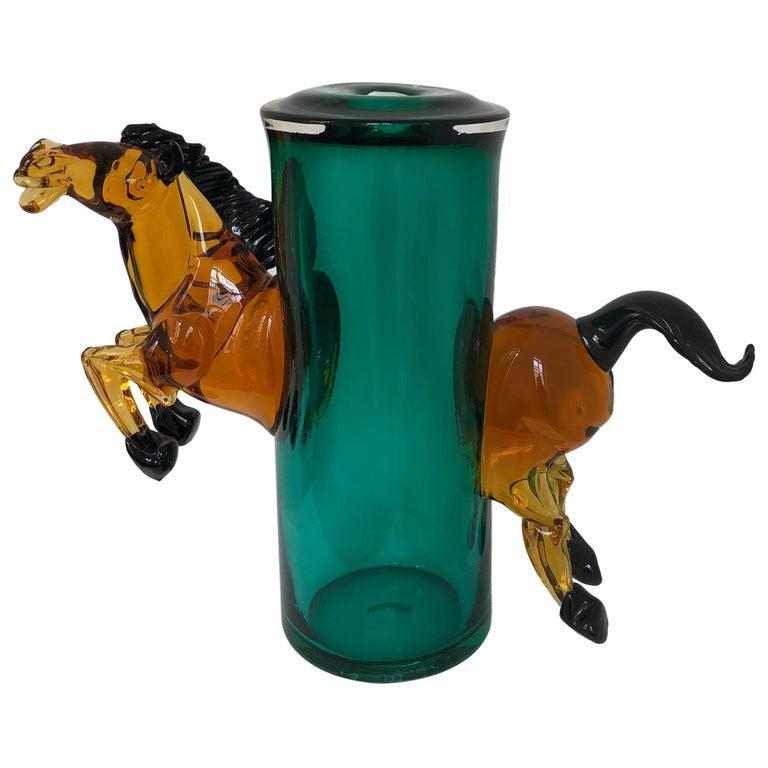 Exceptional Silvano Signoretto Horse Sculpture Vase, Murano, 1960s