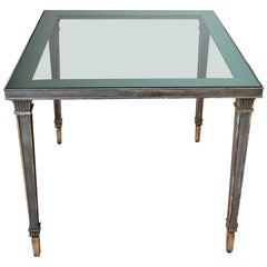 Exceptional Silver Plated Bronze Guilloché Side Table Att. Maison Charles