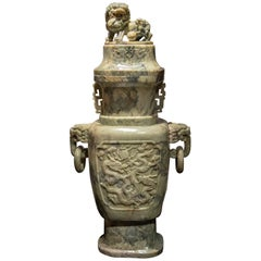 Exceptional Single Monumental Covered Urn of Archaic Fung Lei Form