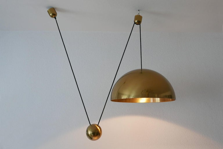 Bronzed Exceptional Solan Counter Balance Pendant Lamp by Florian Schulz, 1980s, Germany For Sale