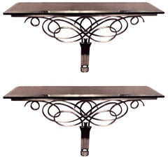 Exceptional Solid Stainless & Marble Console Tables in the Style of Leleu, Pair