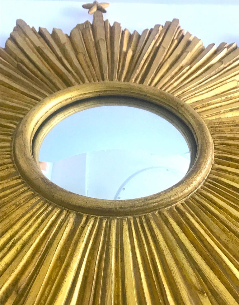 Exceptional Starburst Mirror Hand Carved with Antique Gold Leaf Finish For Sale 3