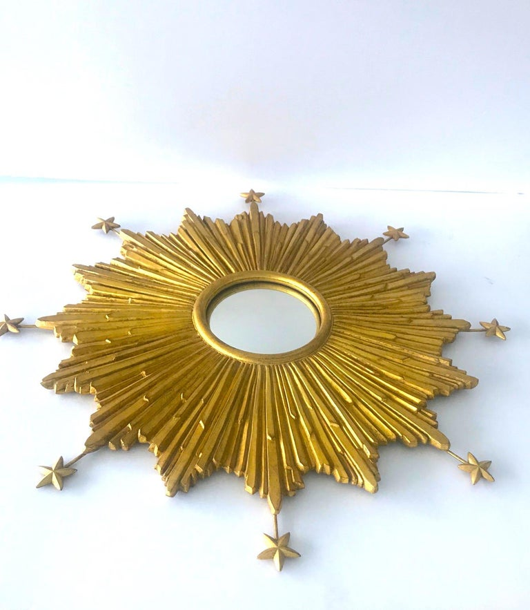 European Exceptional Starburst Mirror Hand Carved with Antique Gold Leaf Finish For Sale