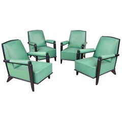 Exceptional Suite of 4 Elegant Art Deco Armchairs in Blackened Wood and Leather