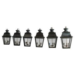 Exceptional Suite of 6 French Antique Restored Large Lanterns