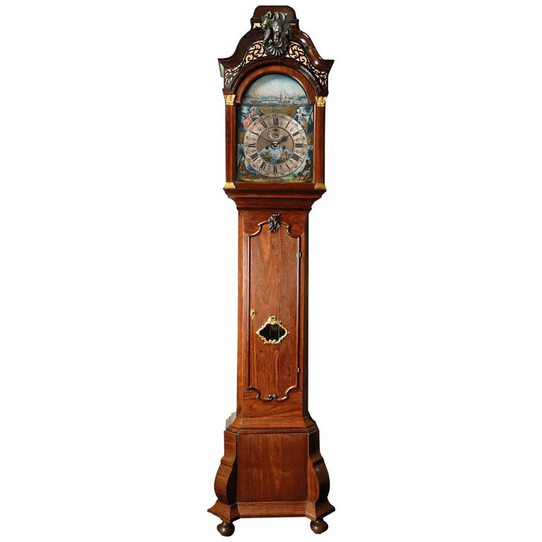 Exceptional Surinam-Themed Amsterdam Long-Case Clock For Sale