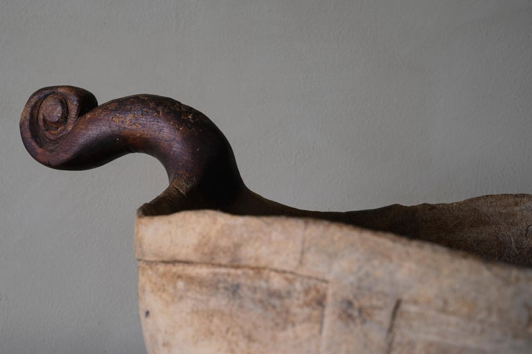 Hand-Carved Exceptional Swedish Early 18th Century Bowl / Ale Scoop