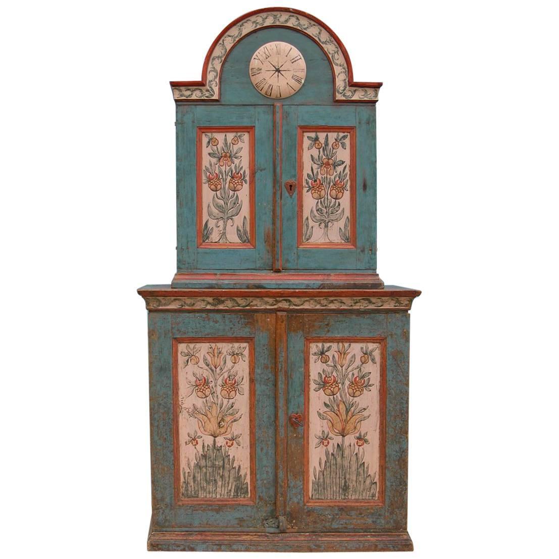 Rare Swedish 'Skånkskåp' Allmoge Cabinet, Dalarna, Sweden, Circa 1800