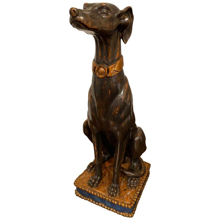 Exceptional Tall Polychrome Giltwood Sculture of a Greyhound, Italy, 19th C. For Sale