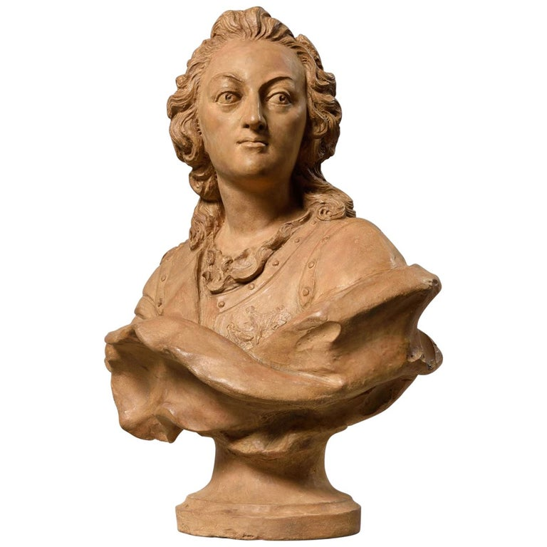 Exceptional Terracotta Bust of Louis XV by Pierre Lucas, France For Sale