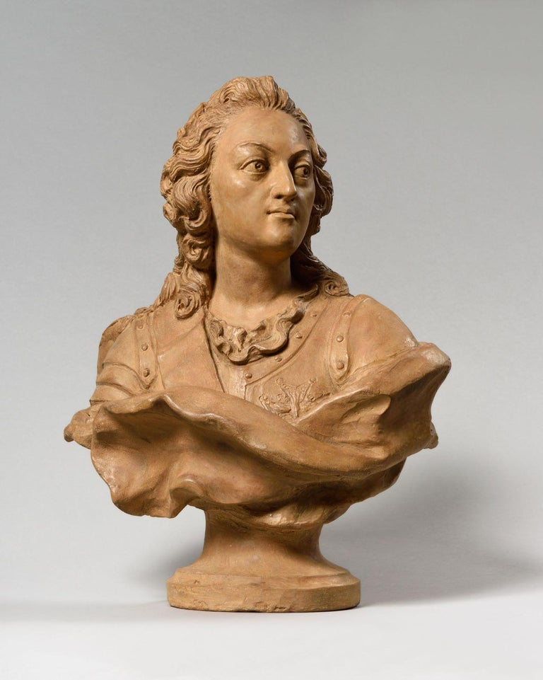 Exceptional Terracotta Bust of Louis XV by Pierre Lucas, France, mid-18th century Pierre LUCAS  (TOULOUSE, 1692 - TOULOUSE, 1752) Louis Xv, Terracotta Bust Dimensions: Hight 45 Cm – Width 40 Cm (17 ¾ In - 15 ¾ In) Signed On The Back Of The