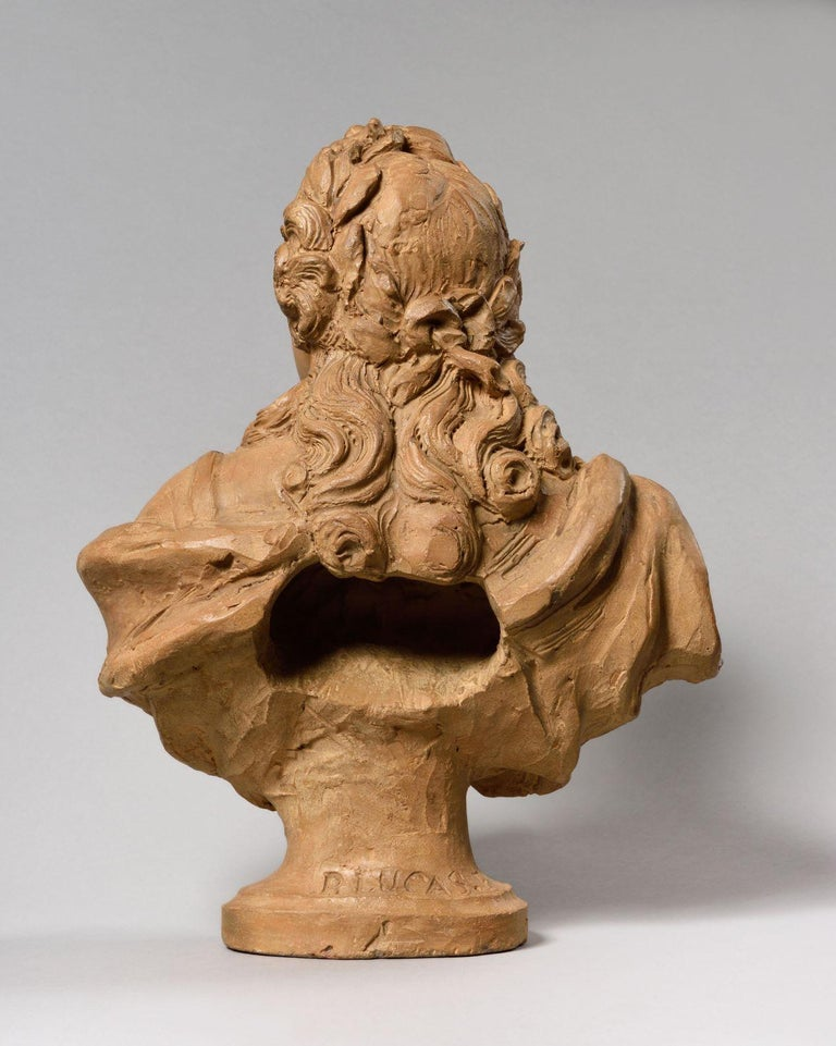 European Exceptional Terracotta Bust of Louis XV by Pierre Lucas, France For Sale