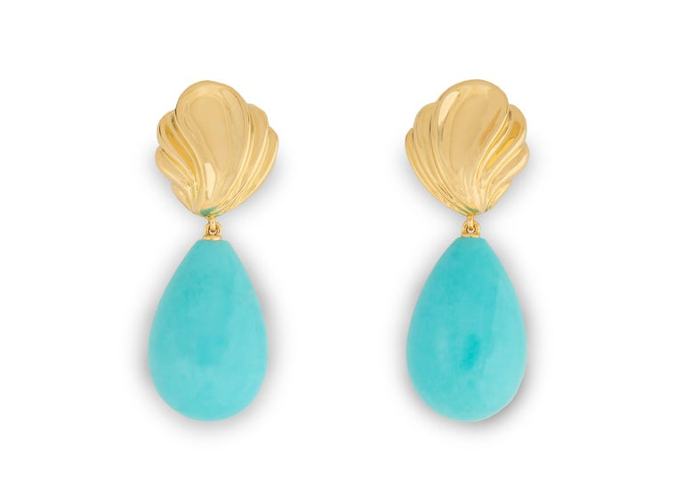 Contemporary Exceptional Tiffany & Co. Gold and Turquoise Earrings For Sale