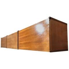 Exceptional Totally Free-Hanging XL Darker Teak 1960 Retro Sideboard / Credenza