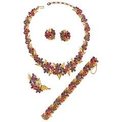 Exceptional Trifari 1950s Fuchsia & Purple Rhinestone Floral Parure