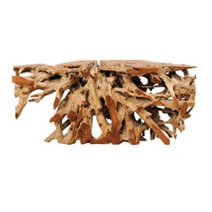 An Exceptionally Beautiful Tropical Teak Hardwood Natural Root Console Table