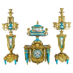 Exceptional Turquoise Sèvres Style Jeweled Porcelain and Ormolu Clock Set