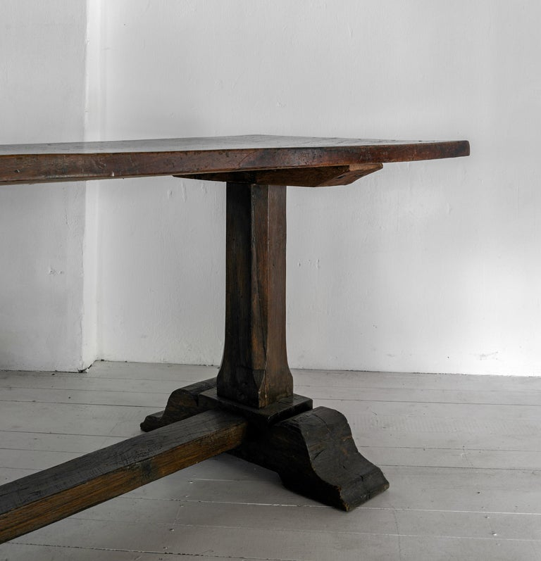 18th Century and Earlier Exceptional Very Large Italian 17th Century Minimal Convent Table For Sale