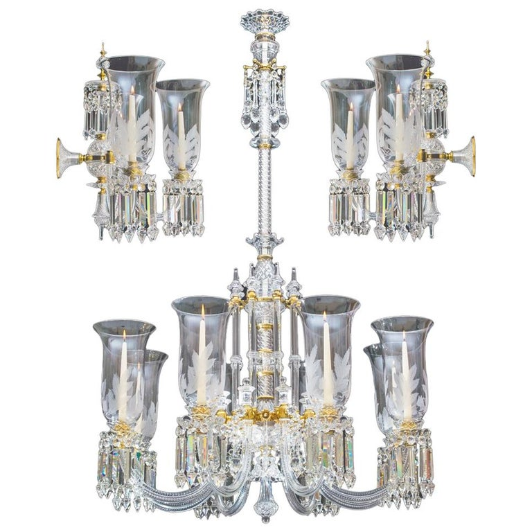 Exceptional Victorian Chandelier and Pair of Wall Lights by F&C Osler For Sale