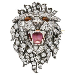 Exceptional Victorian 'Roaring Lion' Diamonds, Citrines and Enamel, circa 1890