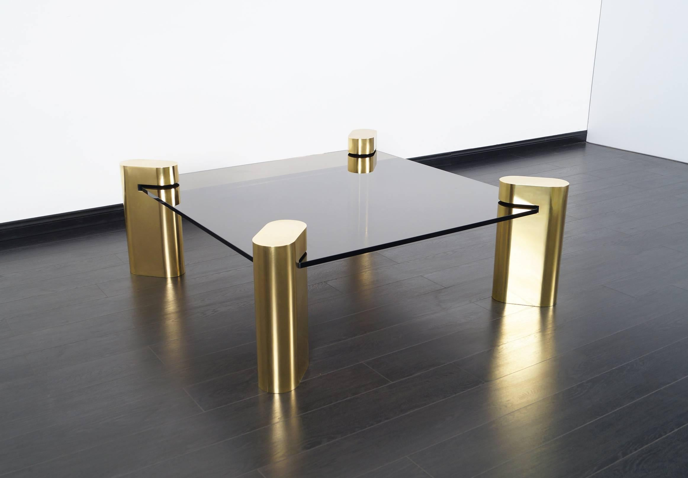 Exceptional Vintage Brass Coffee Table In The Style Of Karl Springer For  Sale At 1stdibs
