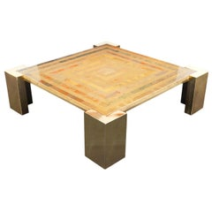 Exceptional Vintage Italian Brass Coffee Table by Marcello Mioni