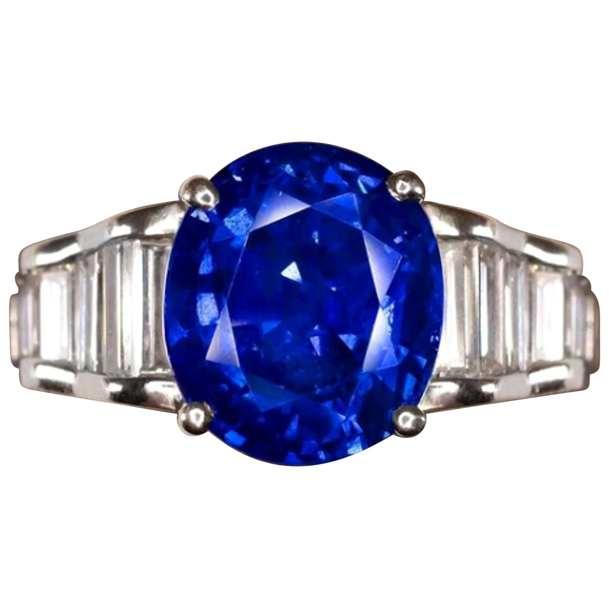 Vivid Blue Royal Blue GRS GIA Certified 5.30 Carat Blue Sapphire
