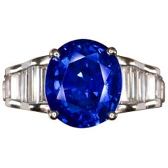 Exceptional Vivid Blue Royal Blue GRS GIA Certified 5.30 Carat Blue Sapphire