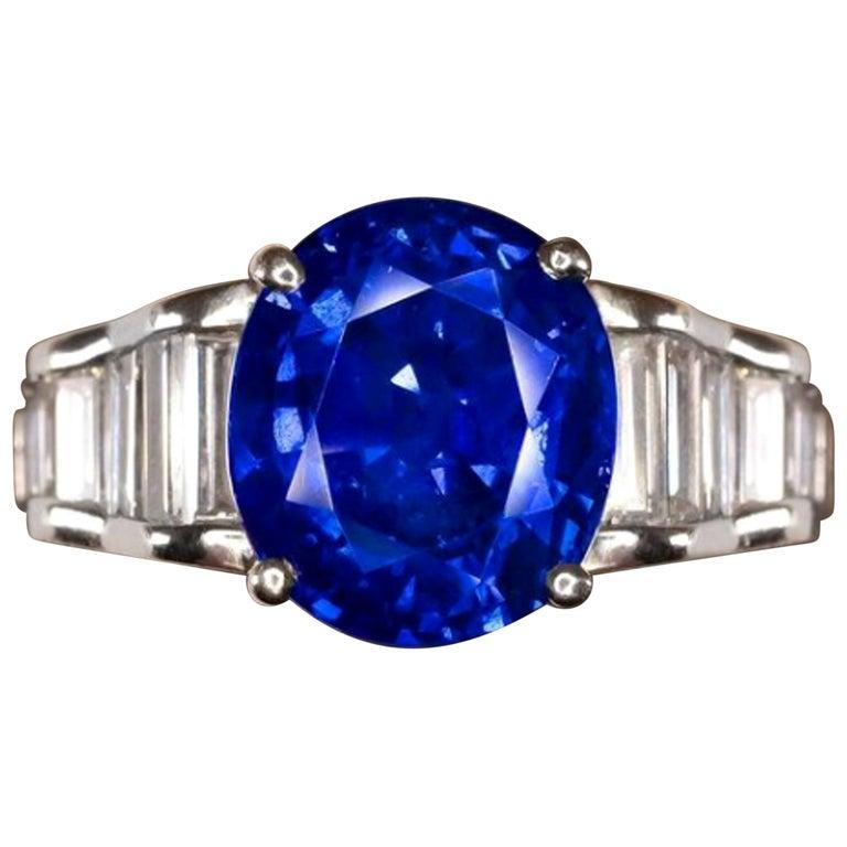 Vivid Blue Royal Blue GRS GIA Certified 5.30 Carat Blue Sapphire For Sale