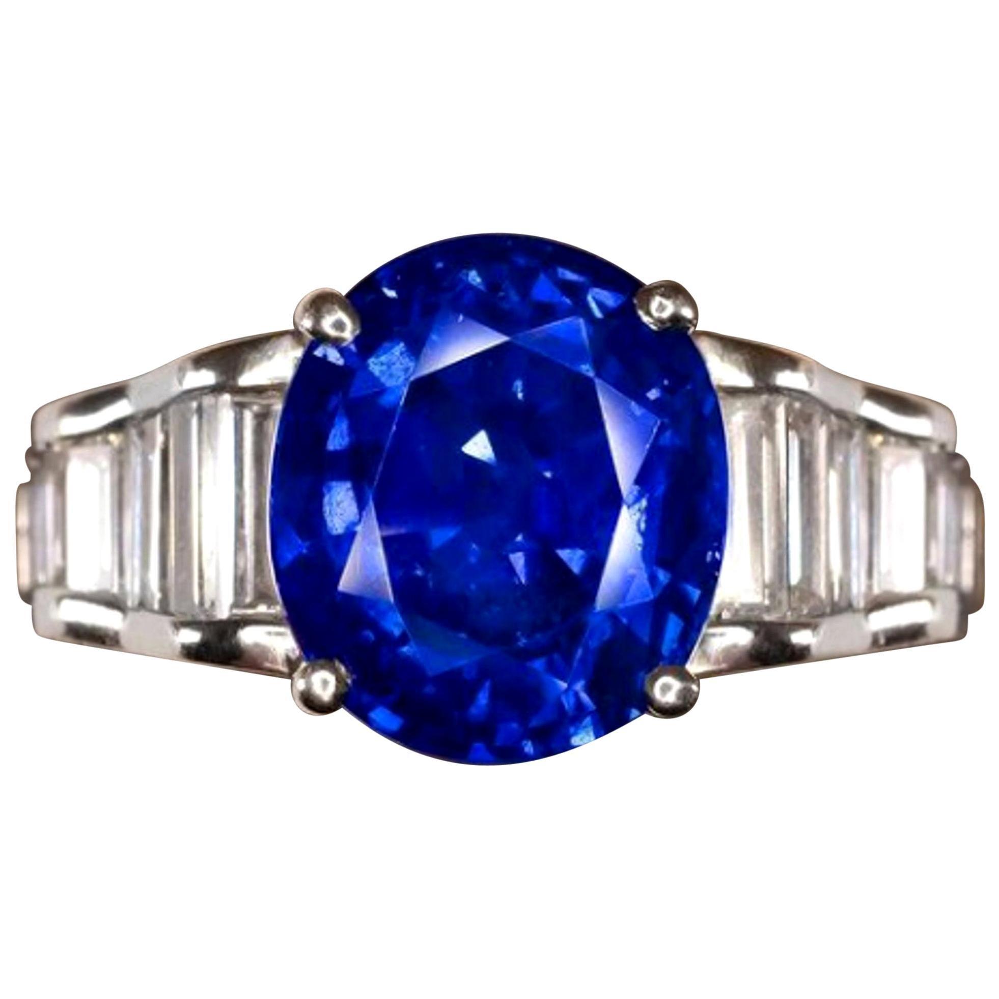 Exceptional Vivid Blue Royal Blue GRS GIA Certified 5.30 Carat Blue Sapphire