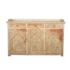Exceptional Wide Swedish Buffet with Carved Galley Top in Original Paint