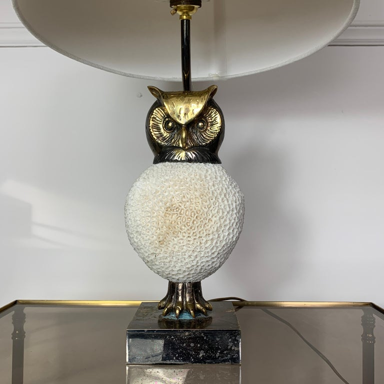 Mid-Century Modern Exceptional, Willy Daro Owl Table Lamp, 1970s For Sale