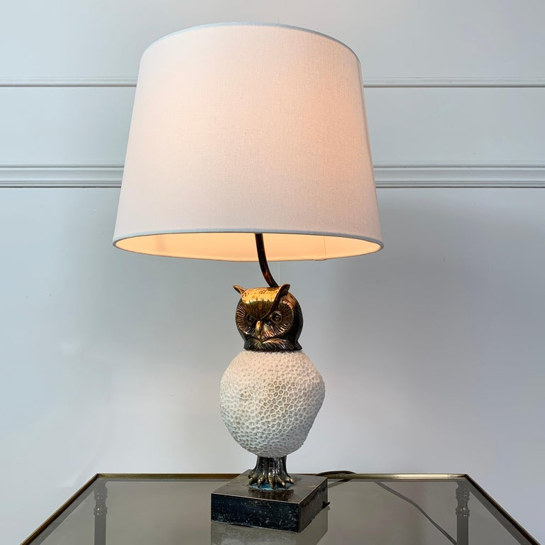 Belgian Exceptional, Willy Daro Owl Table Lamp, 1970s For Sale