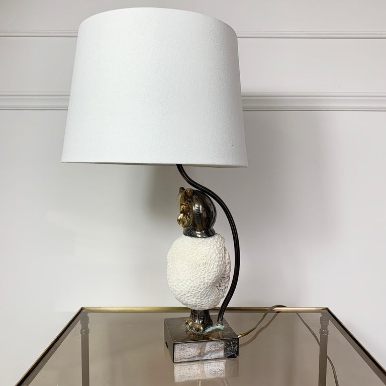 Brass Exceptional, Willy Daro Owl Table Lamp, 1970s For Sale