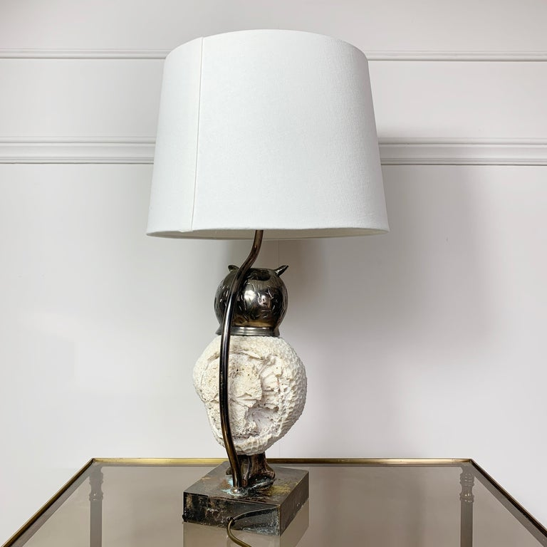 Exceptional, Willy Daro Owl Table Lamp, 1970s For Sale 1