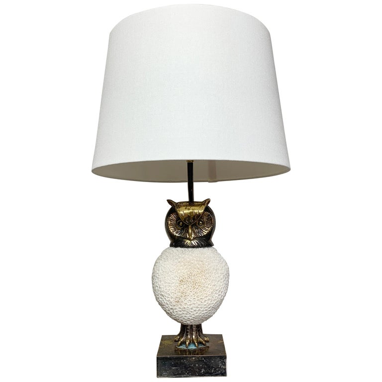 Exceptional, Willy Daro Owl Table Lamp, 1970s For Sale
