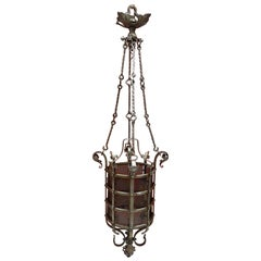 Exceptional Wrought Iron Castle Lantern circa 1930 Very Nice Work of Ironwork