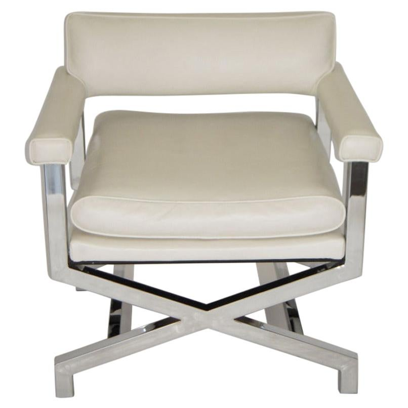 Regency Style X-Base Chrome Arm or Lounge Chair 1970s