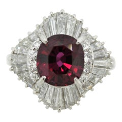Exceptionally Fine No-Heat Ruby Diamond Platinum Ring, GIA Certified
