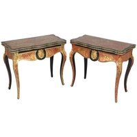 Exceptionally Fine Pair of French 2nd Empire tortoise-shell boulle Card-Tables