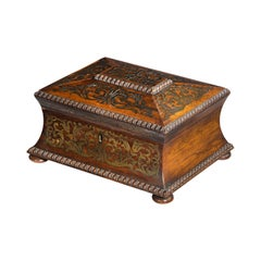 Exceptionally Fine Regency Period Waisted and Flared Brass Inlaid Caddy